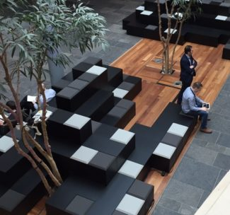 <p>Two seating islands were provided for the Royal Bank of Scotland Headquarters in Edinburgh in close collaboration between Michael Laird Architects, Tsunami Axis, and Icons of Denmark. Each structure can seat up to 50 people and are widely used for visitors and as a meeting point. The designs were made by Michael Laird Architects customised with mixed upholstered and unpadded seats making the units multi-functioning with mixed seating and table space. Project management, delivery and installation were completed by Tsunami Axis.</p> <p>Client: Royal Bank of Scotland<br /> Location: Edinburgh, Scotland<br /> Architect: Michael Laird Architects<br /> Dealer: Tsunami Axis Ltd.</p>