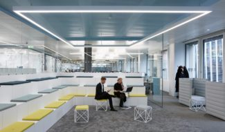 <p>For their open-plan London office QBE Insurance Group needed an environment promoting inspiration, collaboration and creativity. A white seating unit with cushions in QBE's colours was adapted by architects Perkins + Will to fit an area for team work, presentations and short meetings. The project was executed in 2016.</p> <p>Client: QBE Insurance Group<br /> Location: London, United Kingdom<br /> Architect: Perkins + Will<br /> Dealer: Hunters<br /> Photos:David Churchill</p>